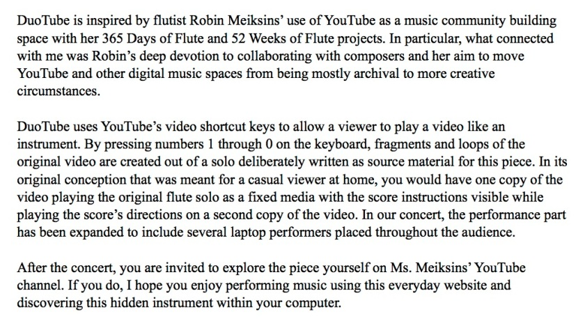 duotube program note